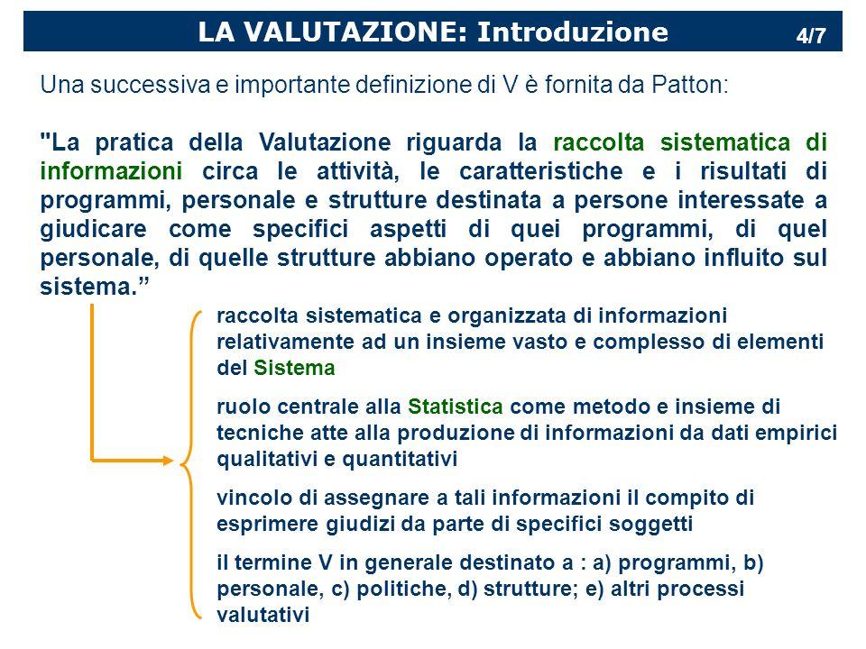 LA VALUTAZIONE: Introduzione