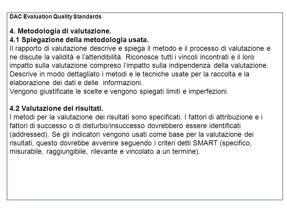 4. Metodologia di valutazione.