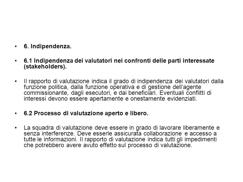 6. Indipendenza. 6.1 Indipendenza dei valutatori nei confronti delle parti interessate (stakeholders).