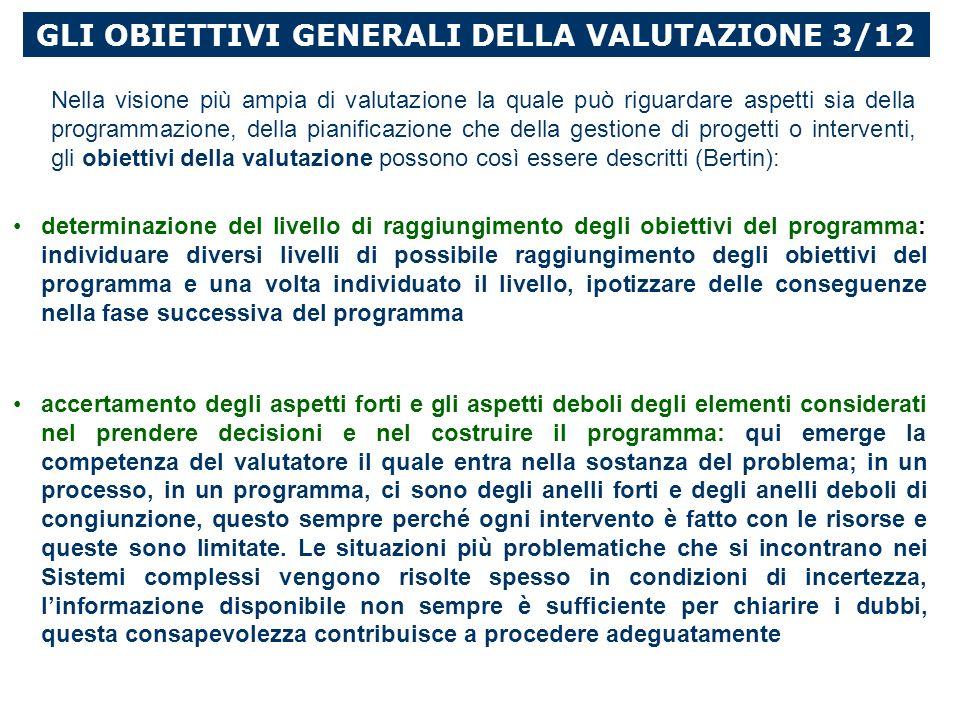 GLI OBIETTIVI GENERALI DELLA VALUTAZIONE 3/12
