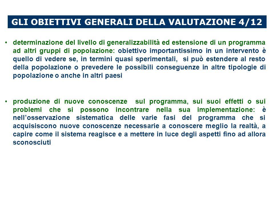 GLI OBIETTIVI GENERALI DELLA VALUTAZIONE 4/12