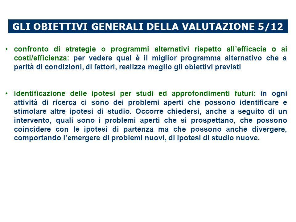 GLI OBIETTIVI GENERALI DELLA VALUTAZIONE 5/12
