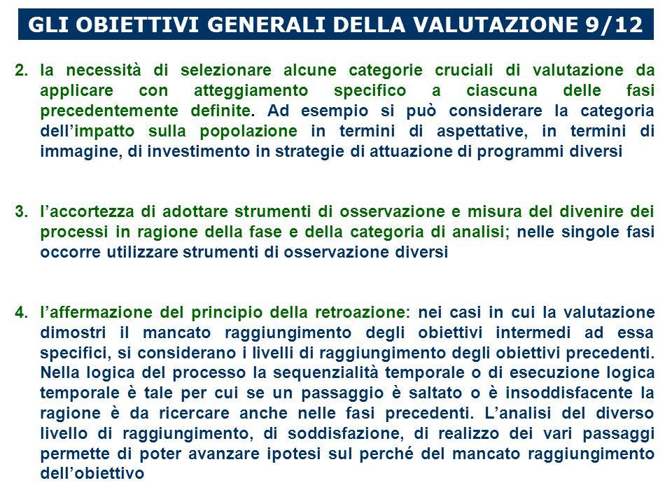 GLI OBIETTIVI GENERALI DELLA VALUTAZIONE 9/12