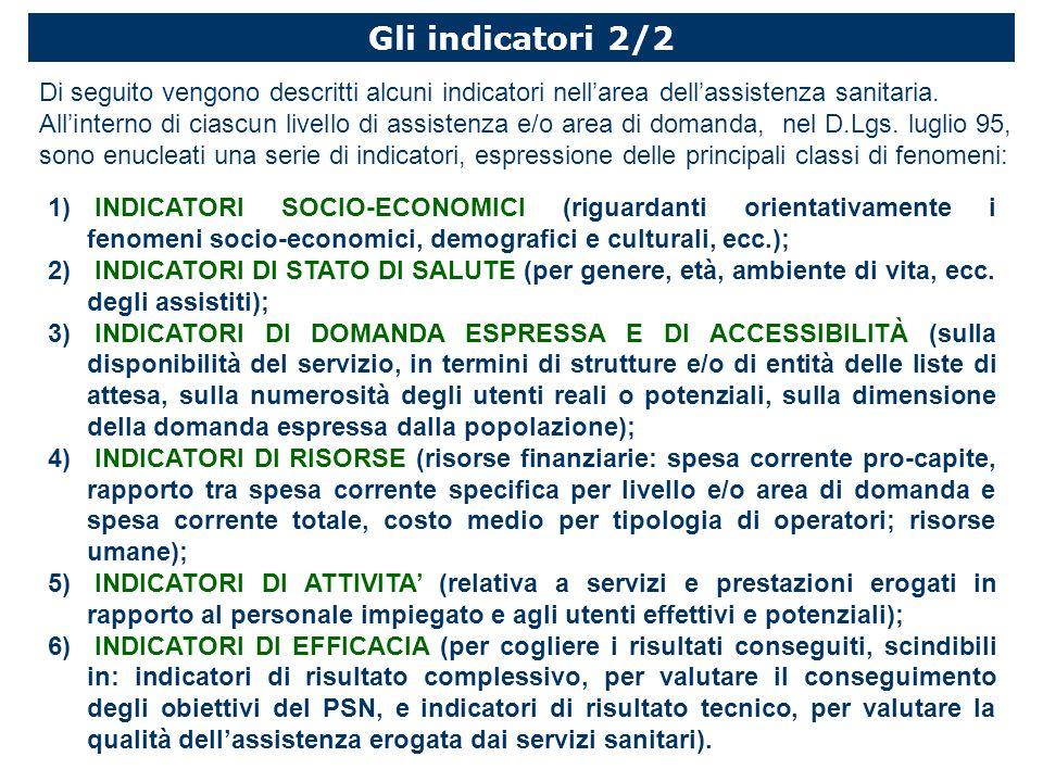 Gli indicatori 2/2 Di seguito vengono descritti alcuni indicatori nell'area dell'assistenza sanitaria.