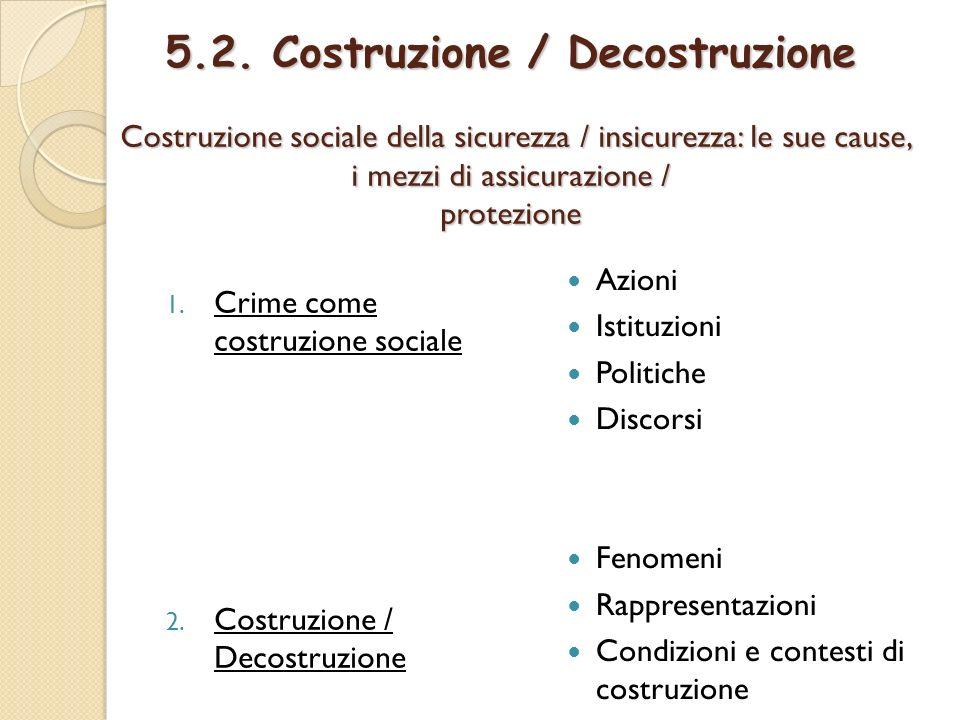 5.2. Costruzione / Decostruzione Costruzione sociale della sicurezza / insicurezza: le sue cause, i mezzi di assicurazione / protezione