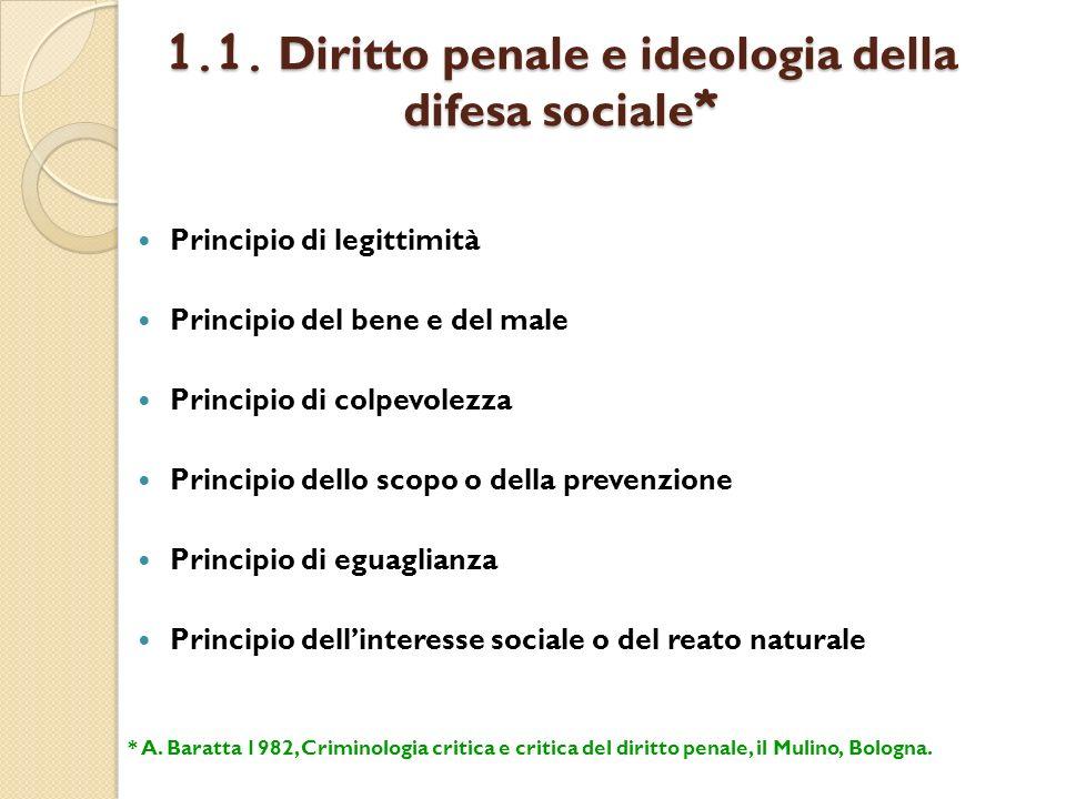 1.1. Diritto penale e ideologia della difesa sociale*