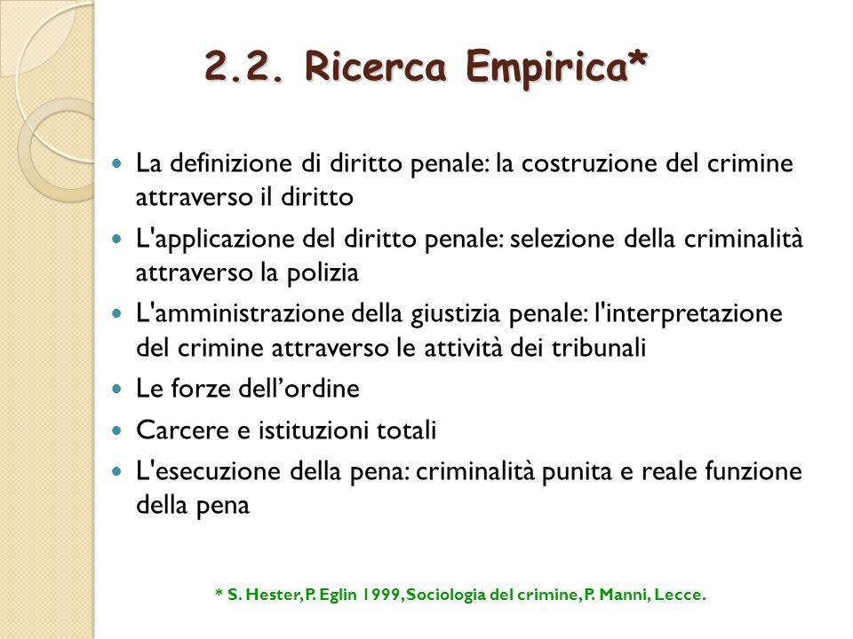 * S. Hester, P. Eglin 1999, Sociologia del crimine, P. Manni, Lecce.