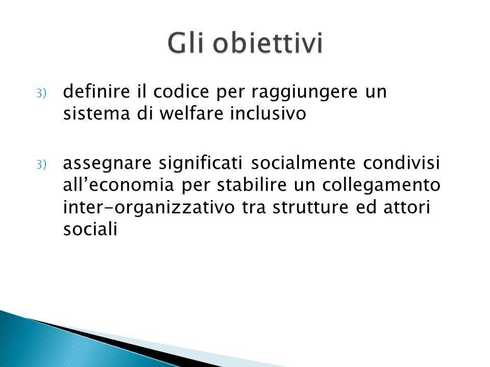 Gli obiettivi definire il codice per raggiungere un sistema di welfare inclusivo.