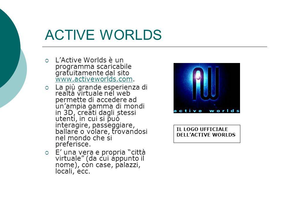 ACTIVE WORLDS L'Active Worlds è un programma scaricabile gratuitamente dal sito www.activeworlds.com.
