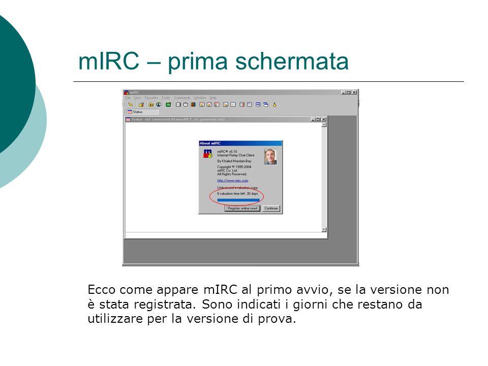 mIRC – prima schermata