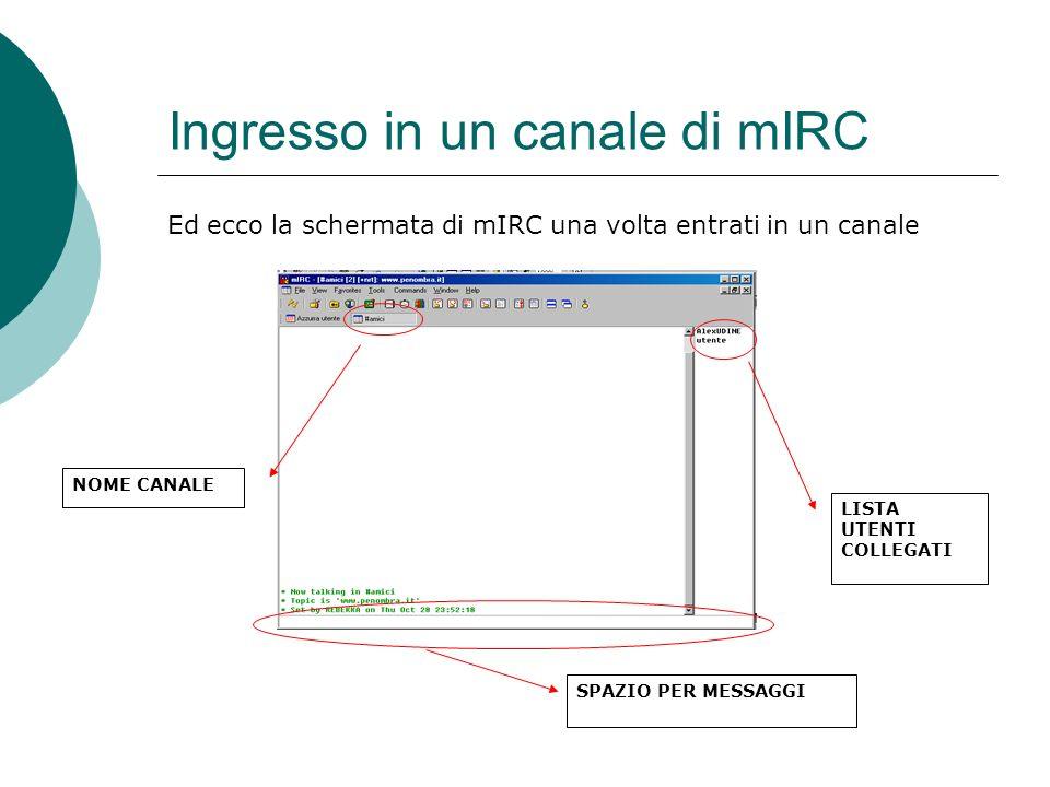 Ingresso in un canale di mIRC