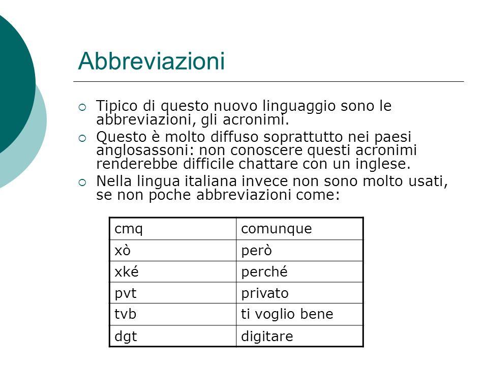 Abbreviazioni Tipico di questo nuovo linguaggio sono le abbreviazioni, gli acronimi.