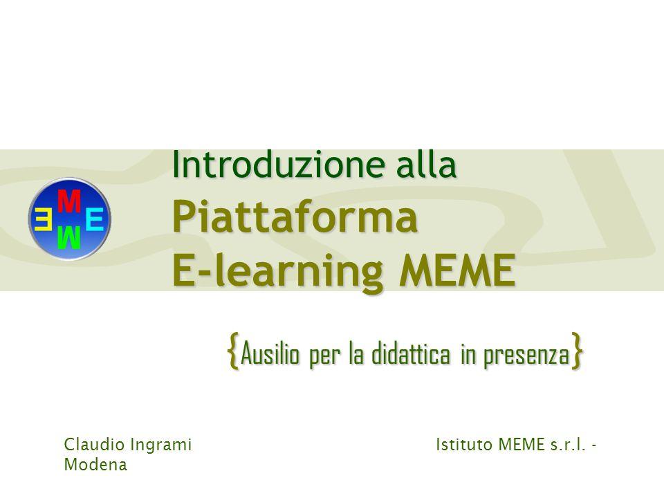 E-learning MEME {Ausilio per la didattica in presenza}