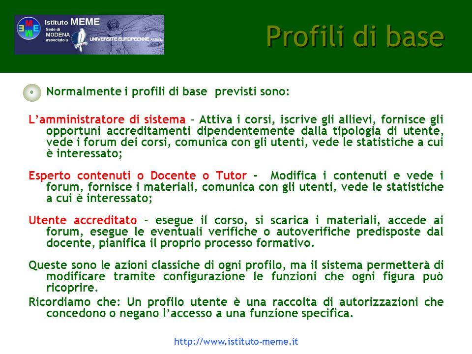 Profili di base Normalmente i profili di base previsti sono: