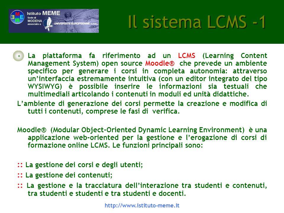 Il sistema LCMS -1 :: La gestione dei corsi e degli utenti;