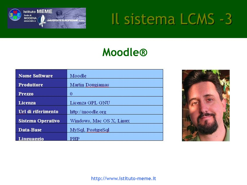 Il sistema LCMS -3 Moodle® http://www.istituto-meme.it