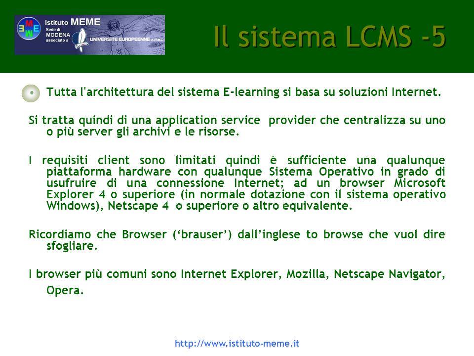 Il sistema LCMS -5 Tutta l architettura del sistema E-learning si basa su soluzioni Internet.