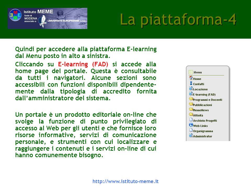 La piattaforma-4 Quindi per accedere alla piattaforma E-learning dal Menu posto in alto a sinistra.