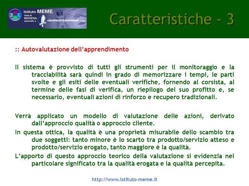 Caratteristiche - 3 :: Autovalutazione dell'apprendimento