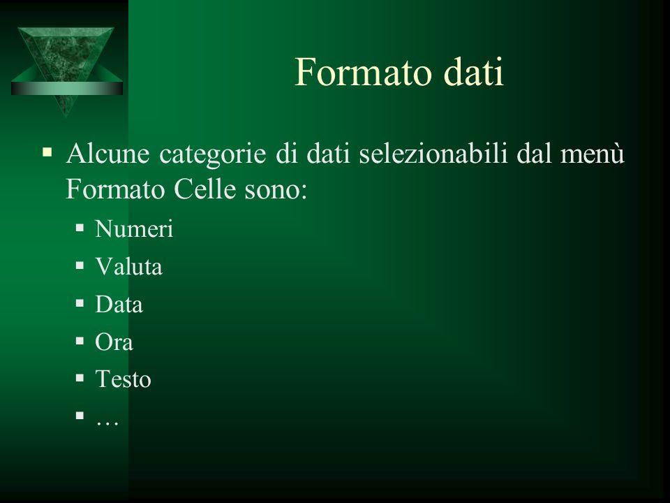 Formato dati Alcune categorie di dati selezionabili dal menù Formato Celle sono: Numeri. Valuta. Data.