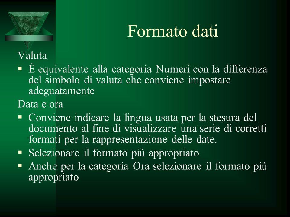 Formato dati Valuta. É equivalente alla categoria Numeri con la differenza del simbolo di valuta che conviene impostare adeguatamente.