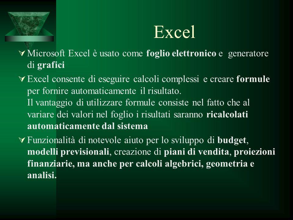 Excel Microsoft Excel è usato come foglio elettronico e generatore di grafici.