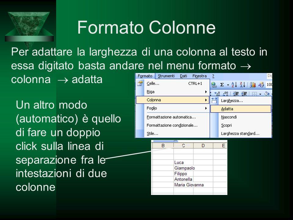 Formato Colonne Per adattare la larghezza di una colonna al testo in essa digitato basta andare nel menu formato  colonna  adatta.
