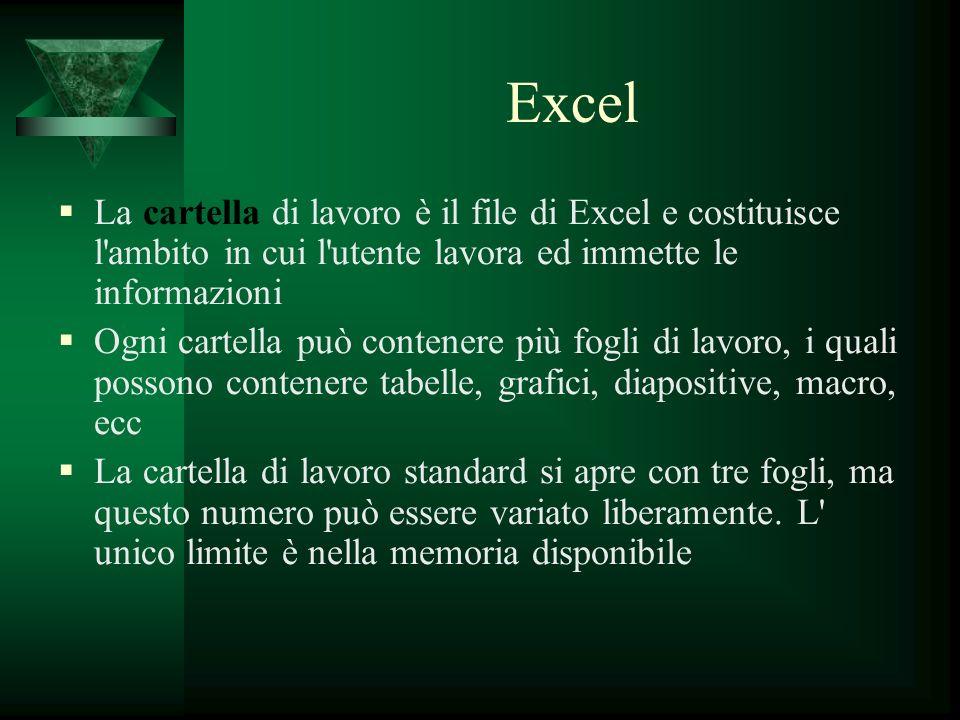 Excel La cartella di lavoro è il file di Excel e costituisce l ambito in cui l utente lavora ed immette le informazioni.