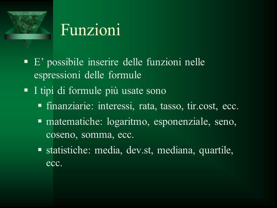 Funzioni E' possibile inserire delle funzioni nelle espressioni delle formule. I tipi di formule più usate sono.