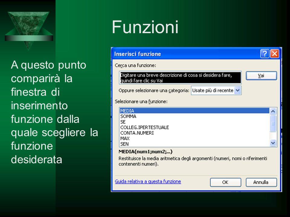 Funzioni A questo punto comparirà la finestra di inserimento funzione dalla quale scegliere la funzione desiderata.