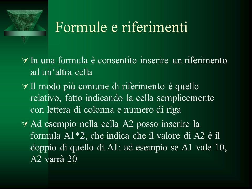 Formule e riferimenti In una formula è consentito inserire un riferimento ad un'altra cella.