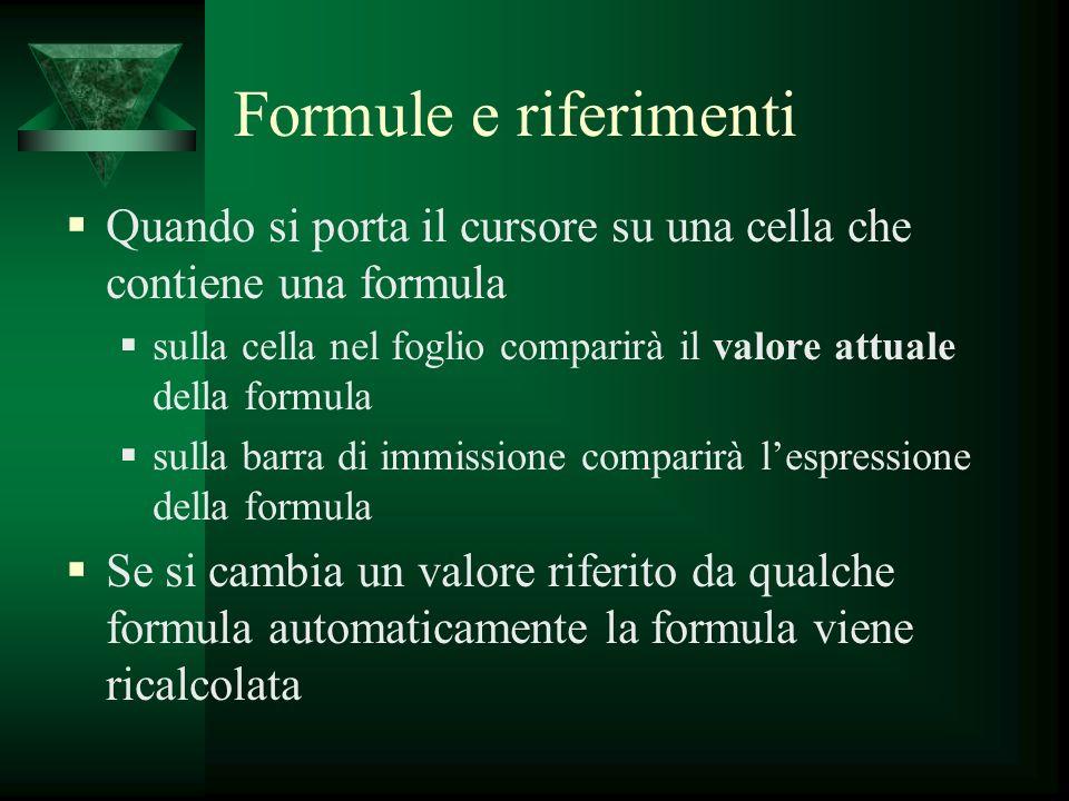 Formule e riferimenti Quando si porta il cursore su una cella che contiene una formula.