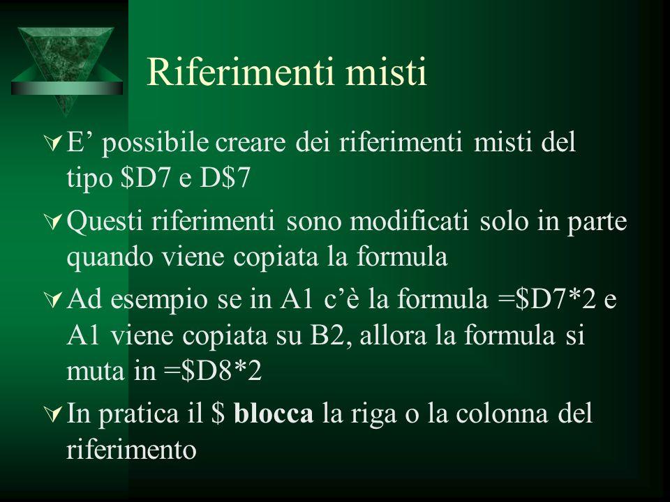 Riferimenti misti E' possibile creare dei riferimenti misti del tipo $D7 e D$7.