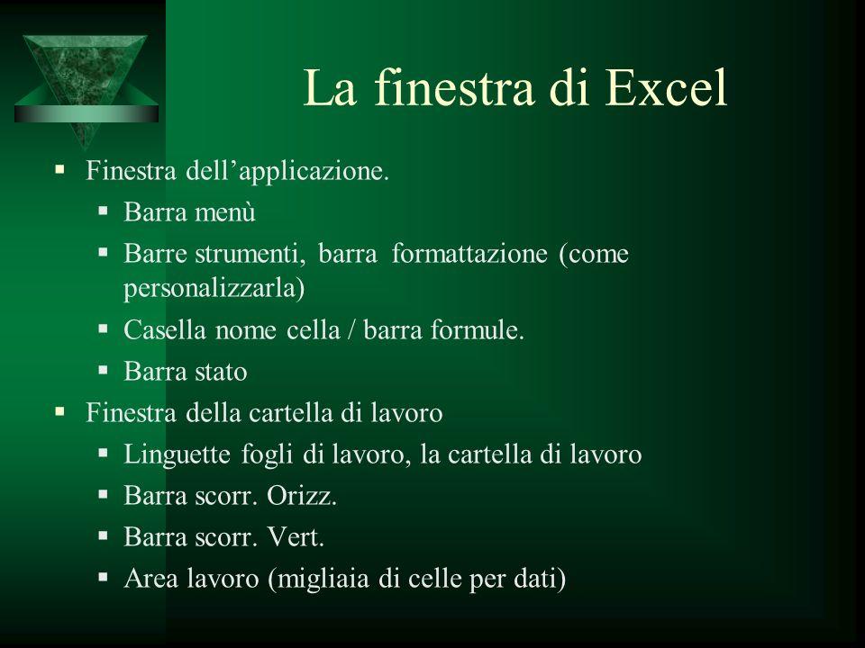 La finestra di Excel Finestra dell'applicazione. Barra menù