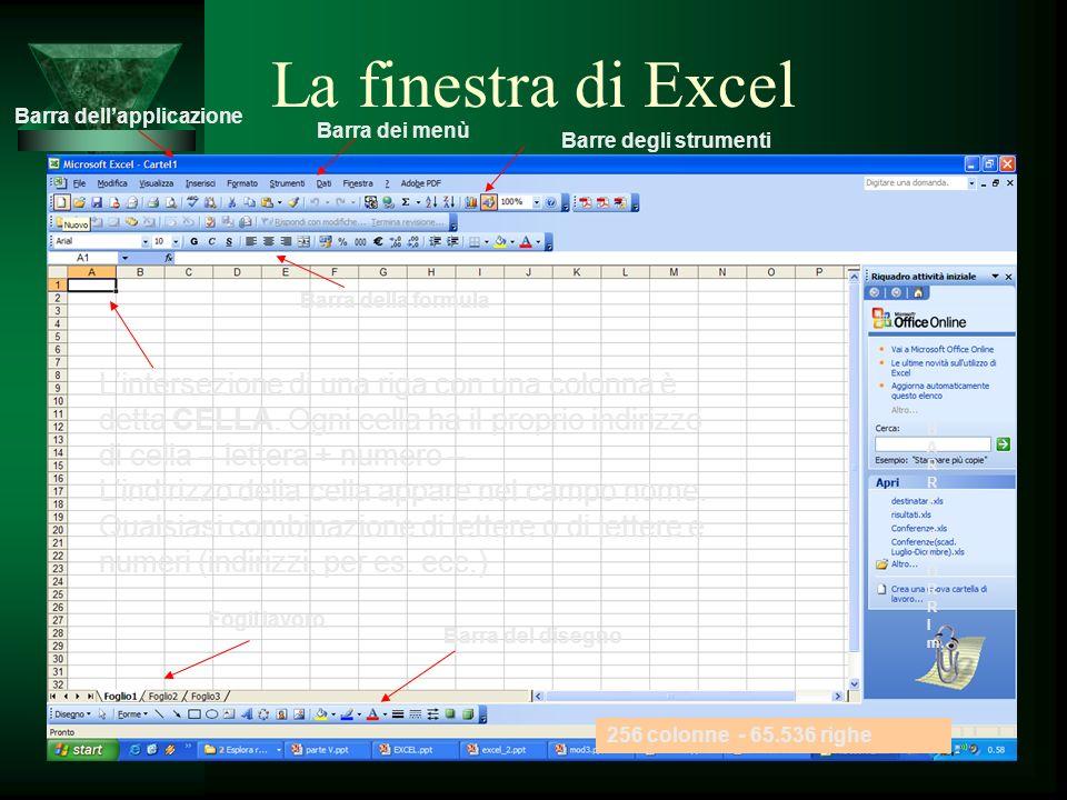 La finestra di Excel Barra dell'applicazione. Barra dei menù. Barre degli strumenti. Barra della formula.