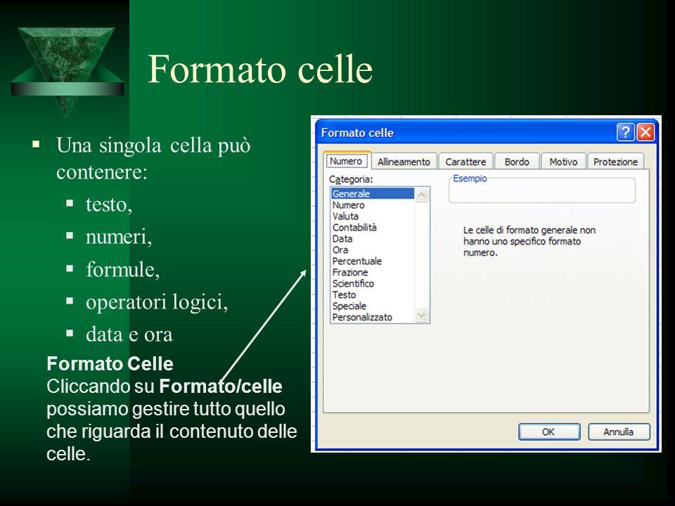Formato celle Una singola cella può contenere: testo, numeri, formule,