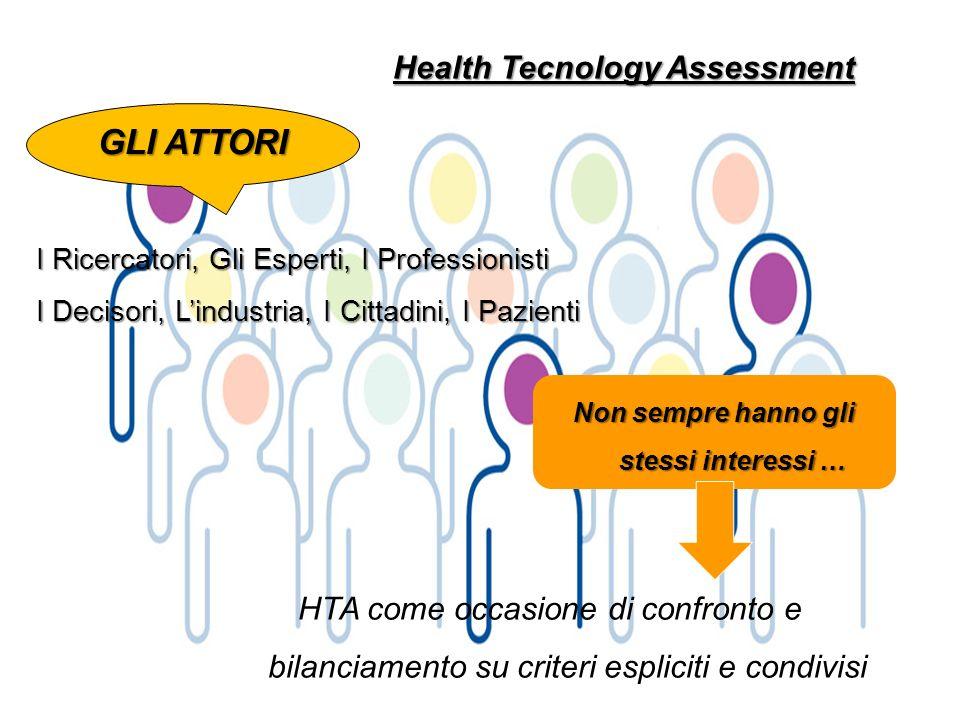 Health Tecnology Assessment Non sempre hanno gli stessi interessi …