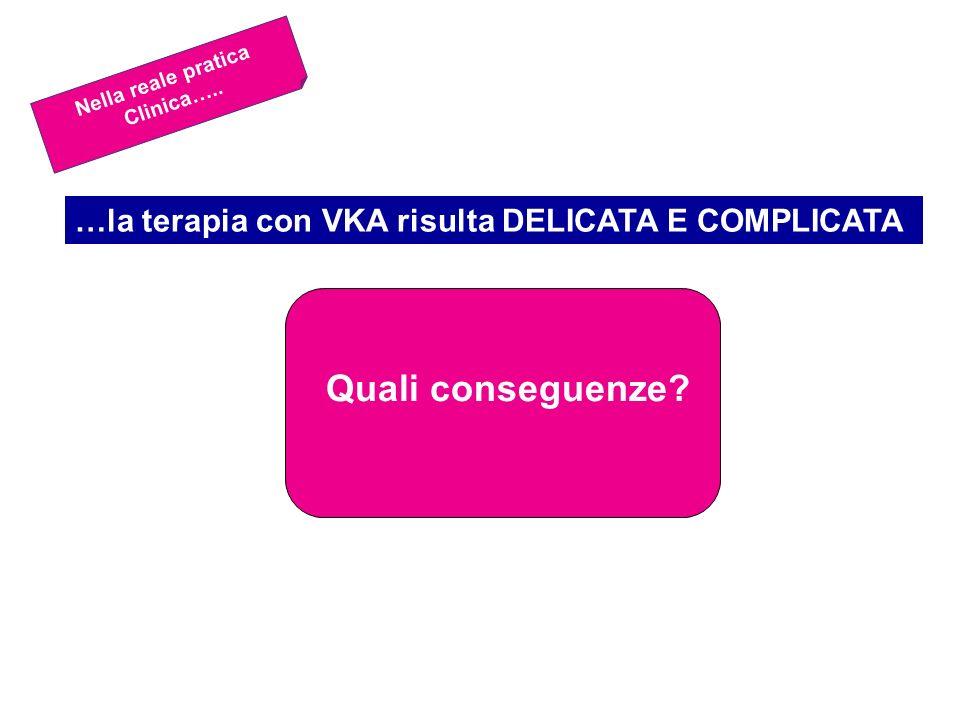 Quali conseguenze …la terapia con VKA risulta DELICATA E COMPLICATA