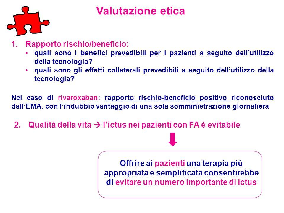Valutazione etica Rapporto rischio/beneficio: