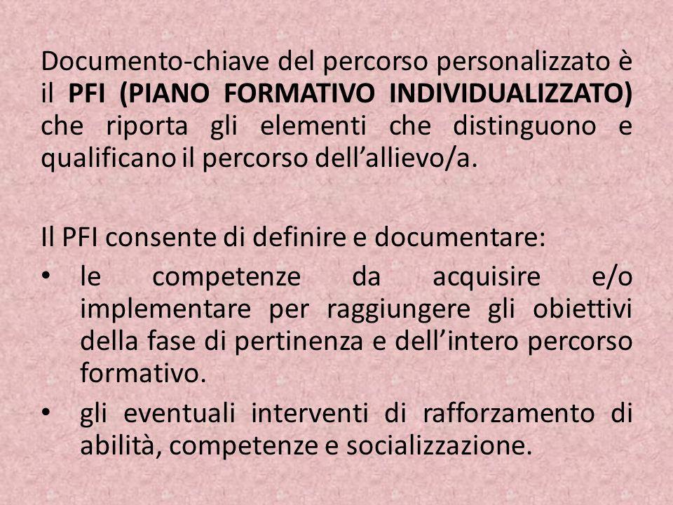 Documento-chiave del percorso personalizzato è il PFI (PIANO FORMATIVO INDIVIDUALIZZATO) che riporta gli elementi che distinguono e qualificano il percorso dell'allievo/a.
