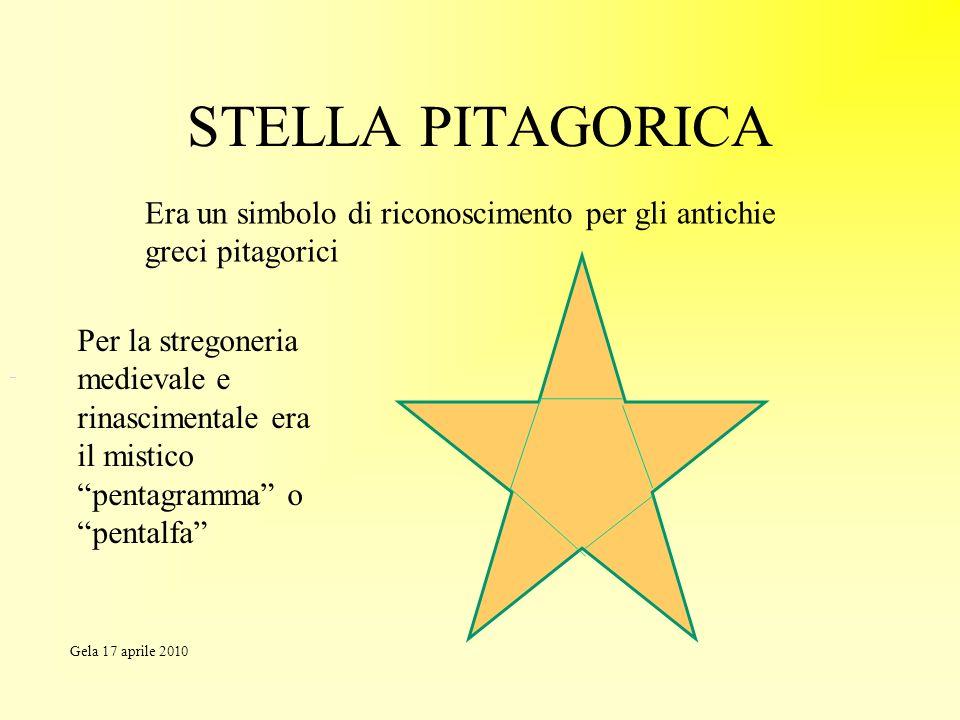 STELLA PITAGORICA Era un simbolo di riconoscimento per gli antichie greci pitagorici.