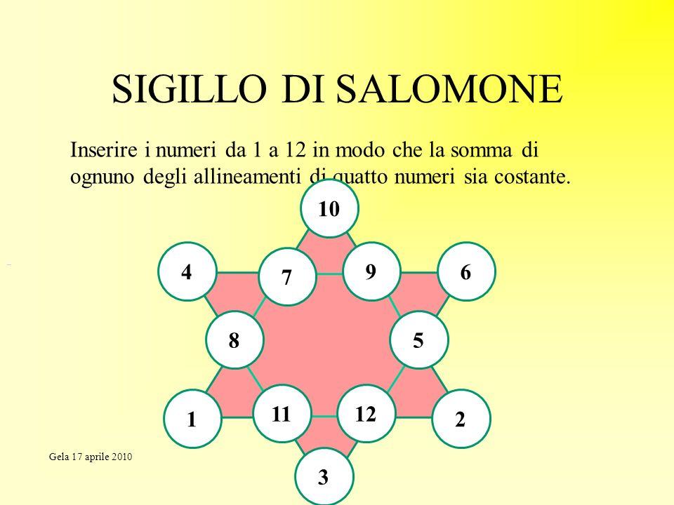 SIGILLO DI SALOMONE Inserire i numeri da 1 a 12 in modo che la somma di ognuno degli allineamenti di quatto numeri sia costante.