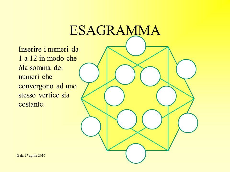 ESAGRAMMA Inserire i numeri da 1 a 12 in modo che òla somma dei numeri che convergono ad uno stesso vertice sia costante.