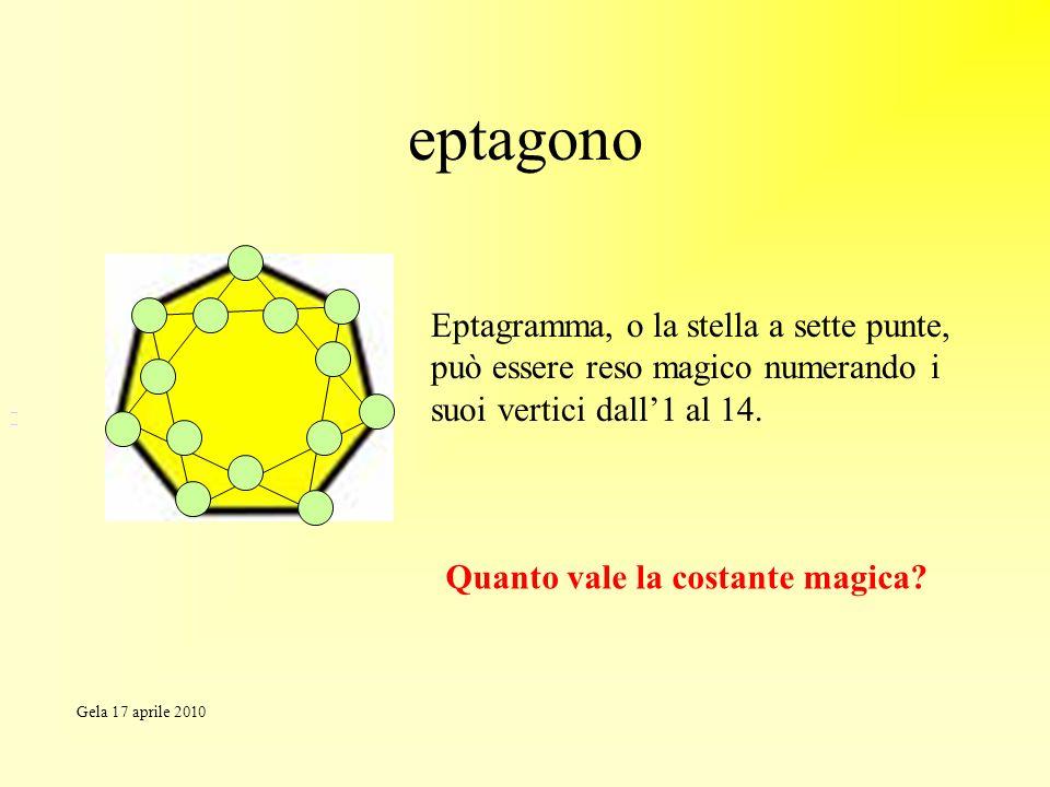 eptagono Eptagramma, o la stella a sette punte, può essere reso magico numerando i suoi vertici dall'1 al 14.