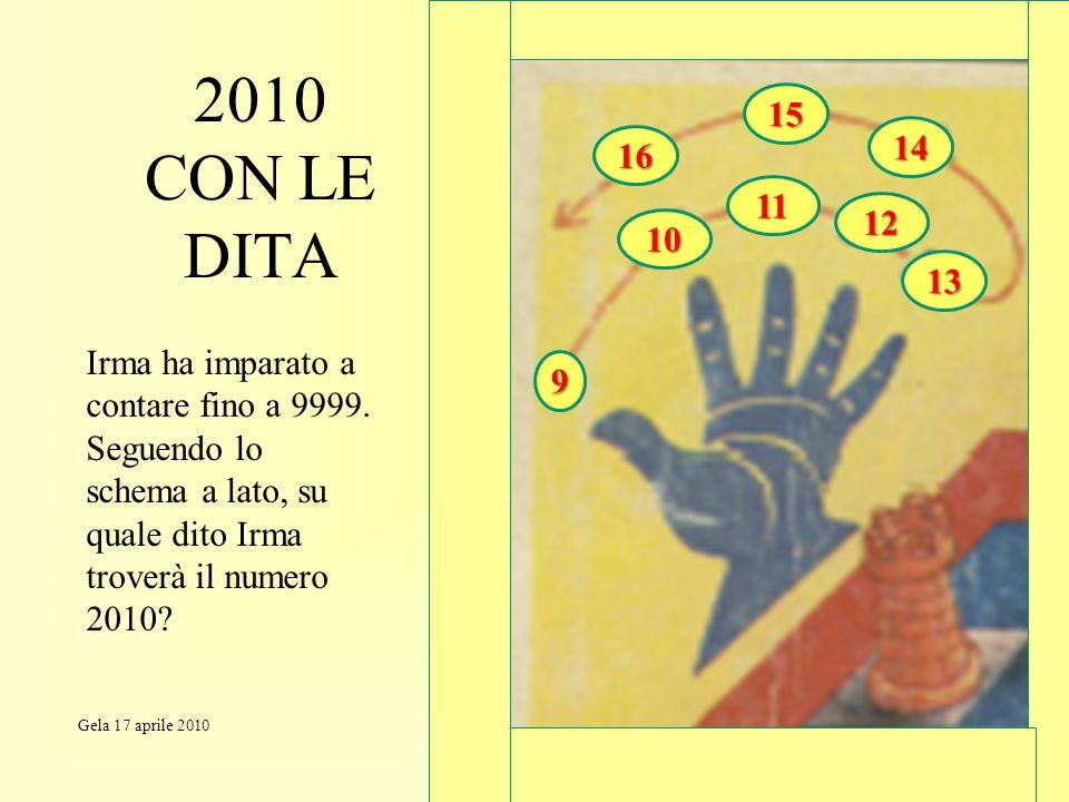 15 2010 CON LE DITA. 14. 16. 11. 12. 10. 13. Irma ha imparato a contare fino a 9999.