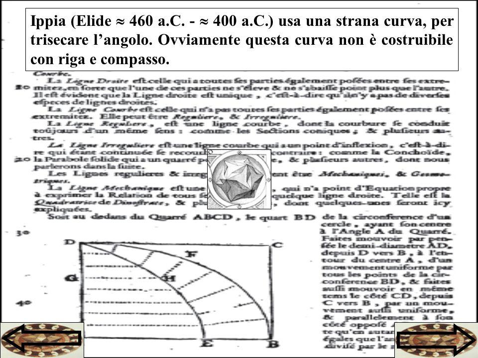 Ippia (Elide  460 a.C. -  400 a.C.) usa una strana curva, per trisecare l'angolo.