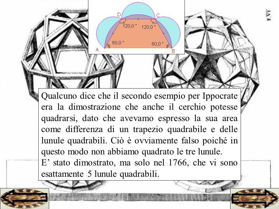 Qualcuno dice che il secondo esempio per Ippocrate era la dimostrazione che anche il cerchio potesse quadrarsi, dato che avevamo espresso la sua area come differenza di un trapezio quadrabile e delle lunule quadrabili. Ciò è ovviamente falso poiché in questo modo non abbiamo quadrato le tre lunule.