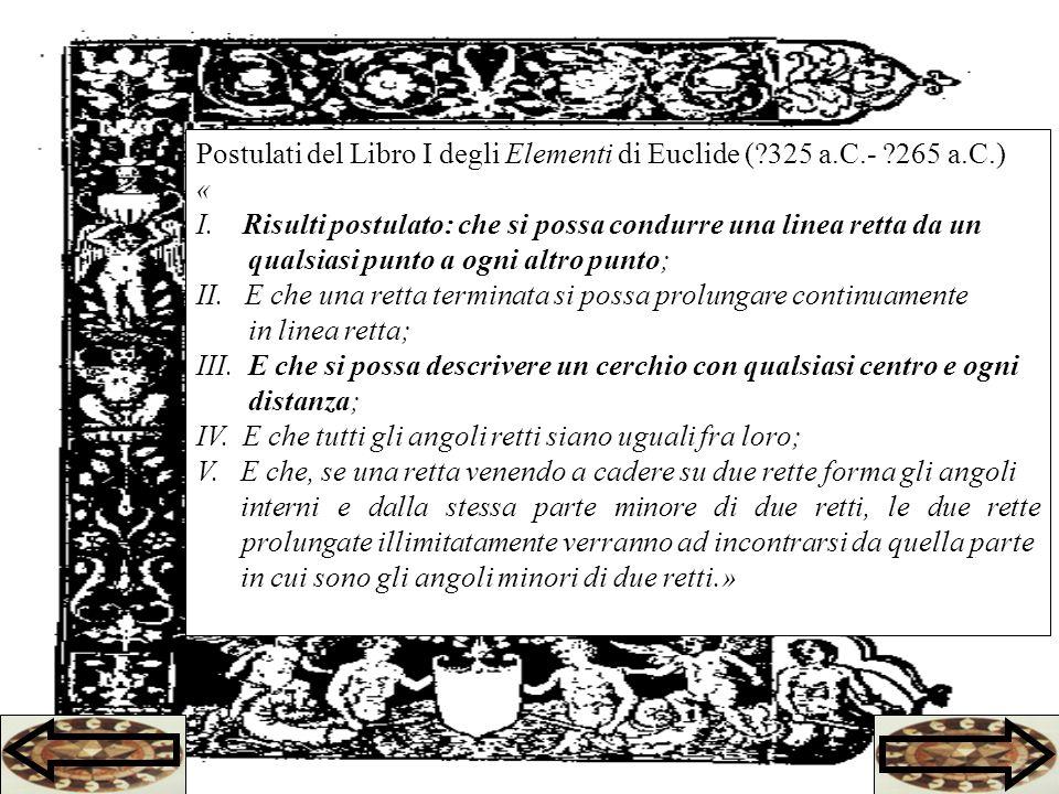 Postulati del Libro I degli Elementi di Euclide ( 325 a.C.- 265 a.C.)