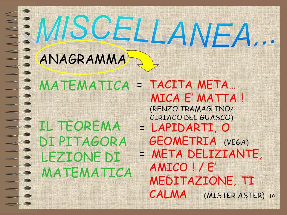 ANAGRAMMA MATEMATICA IL TEOREMA DI PITAGORA LEZIONE DI MATEMATICA