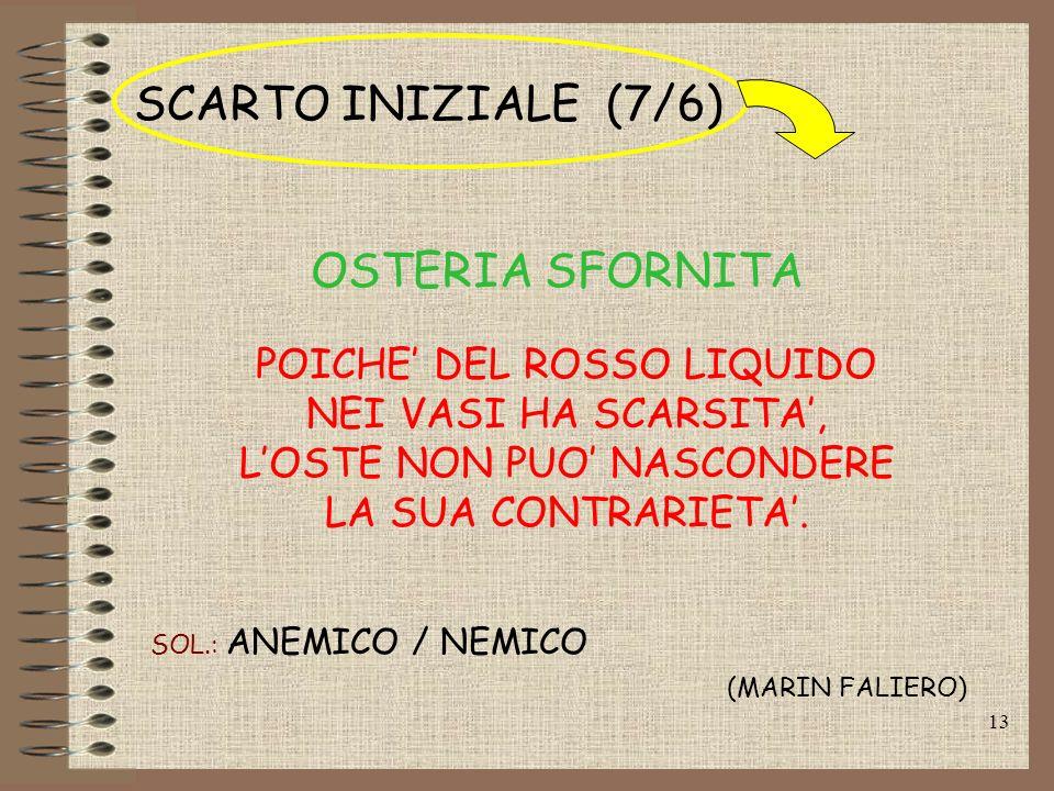 SCARTO INIZIALE (7/6) OSTERIA SFORNITA POICHE' DEL ROSSO LIQUIDO